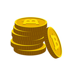 pile of golden bitcoins vector image