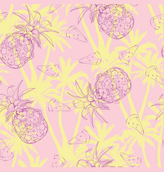 Pineapples background seamless pattern with vector