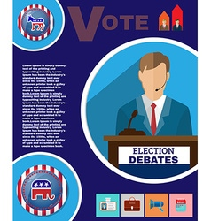 Presidential election debates campaign banner vector