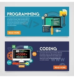 Programming and Coding Concept Banners vector image