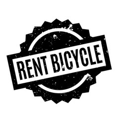 Rent bicycle rubber stamp vector