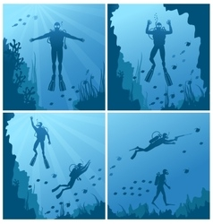 Scuba divers under water vector
