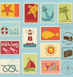 Sea elements - stamp collection vector