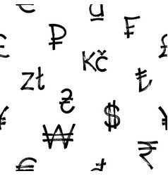 Seamless pattern world currency icons black vector