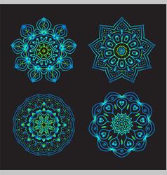 Set ethnic fractal mandala tattoo design looks vector