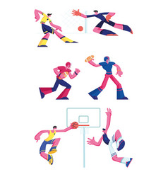 set football rugand basketball players vector image
