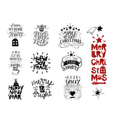 set of 10 christmas inscriptions with lettering vector image