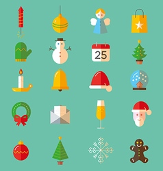 Set of flat Christmas colorful icons vector