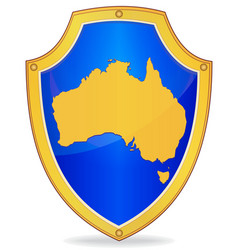 Shield with silhouette of australia vector