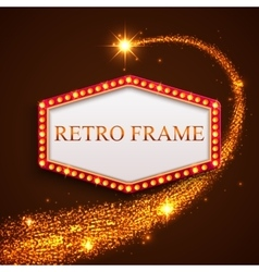 Shining retro frame with falling golden star vector