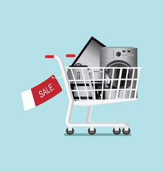Shopping cart with home appliances and electronics vector
