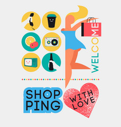 shopping poster with young happy stylized girl vector image