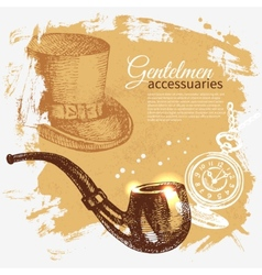 Sketch gentlemen accessory vintage background vector image