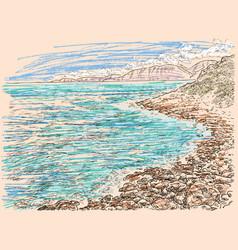 Sketch seashore vector