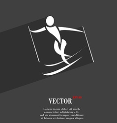 Skier symbol Flat modern web design with long vector