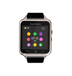Smart watch device display with app icons vector