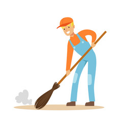 Smiling street sweeper at work street cleaner vector
