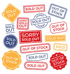 Sold out stamps out of stock rubber stamp red vector
