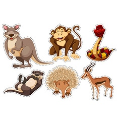 Sticker set with different types of animals vector image