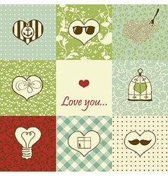 Stylish set of nine hearts vector image vector image