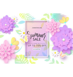 summer sale banner design with colorful tropical vector image