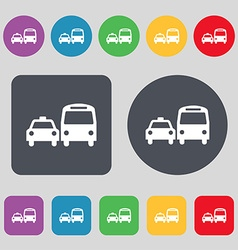 taxi icon sign A set of 12 colored buttons Flat vector image