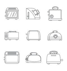 toaster kitchen bread icons set outline style vector image