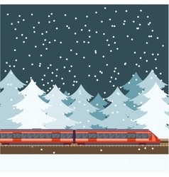train in forest banner vector image