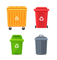 Trash container bin icon garbage can metal vector