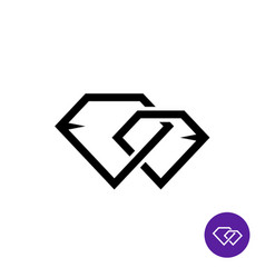 Two diamonds together line style logo vector