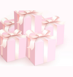 wedding gift boxes with tender satin ribbon magic vector image