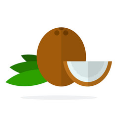 whole coconut coconut leaves and a piece of vector image