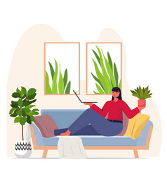 woman taking care houseplants housewife using vector image