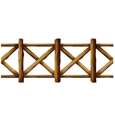 Wooden fence in simple design vector