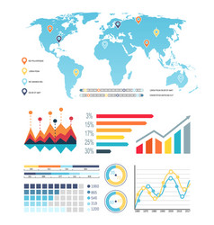 world map with diagrams visualization information vector image