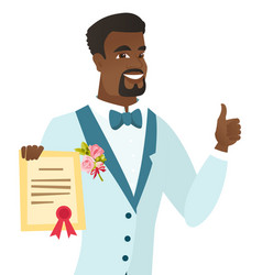 Young african-american groom holding a certificate vector