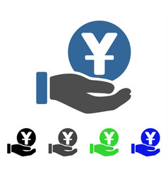 Yuan coin payment hand flat icon vector