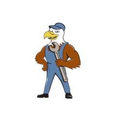 American Bald Eagle Mechanic Spanner Cartoon vector image vector image