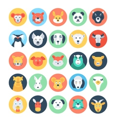 Animal Avatars Flat Icons 2 vector image