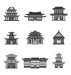 Chinese house icons black vector image vector image