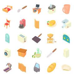 grange icons set cartoon style vector image