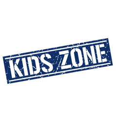 Kids zone square grunge stamp vector