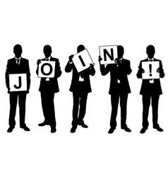 people holding join sign vector image vector image