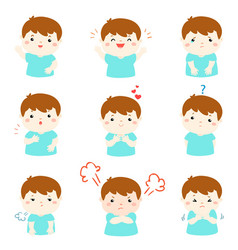 variety boy face expression vector image vector image