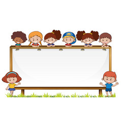 board template with kids in park vector image