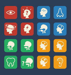 brain and respiratory medical and hospital icons vector image