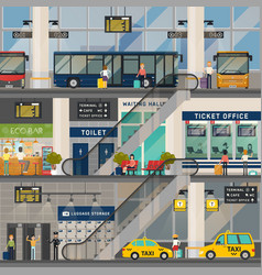 bus or transport station or stop interior view vector image vector image