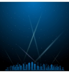 City at night with spotlights in background vector image