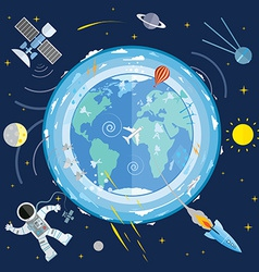 Flat of planet Earth and space icons Astron vector image vector image