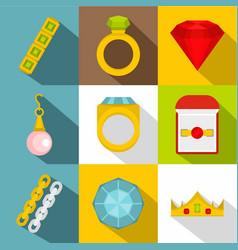jewelry icon set flat style vector image